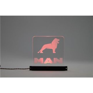 Arcryl Schild MAN V1 beleuchtet rot